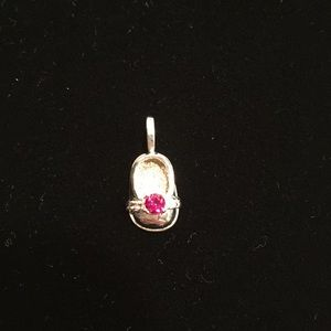 Jewelry - Adorable 14kt white gold ruby shoe